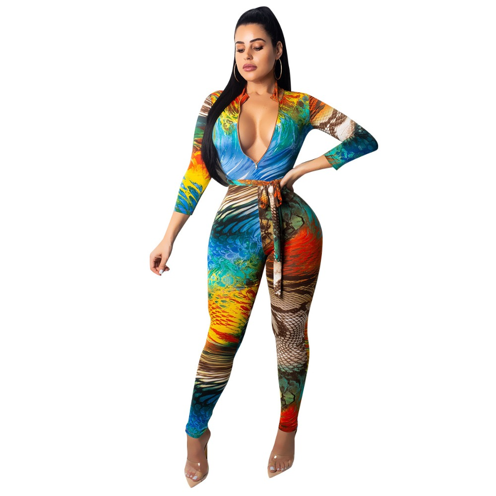 Novelty & Special Use European And American Fashion Sexy Stripe Printing Deep V Suspender Jumpsuit Elegant In Smell Africa Clothing