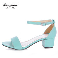 Big Size 34 43 Fashion Thick Med Heels Platform Sandal Dress Shoes For Women Sexy Casual