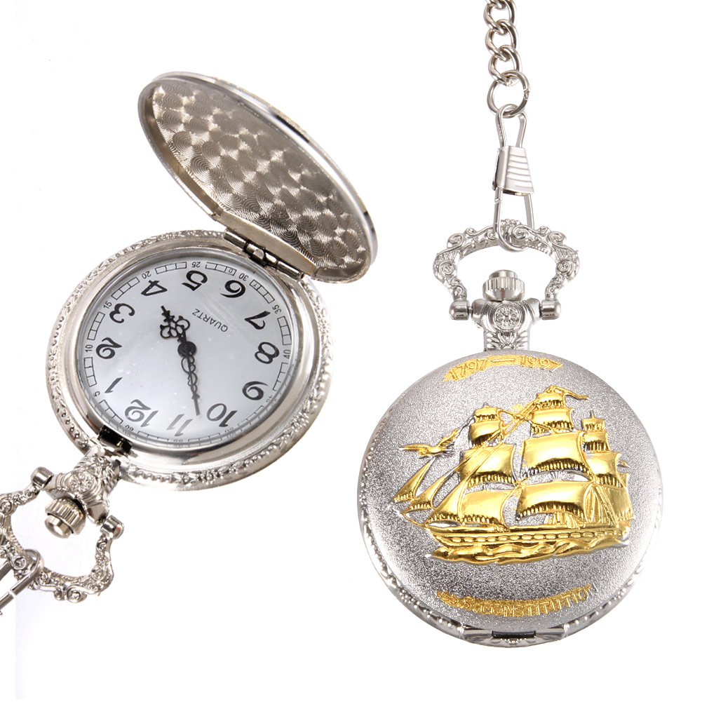 Vintage Pocket Watch Quartz Watch Cool Chain Golden Sailboat Cover Watches LL@17