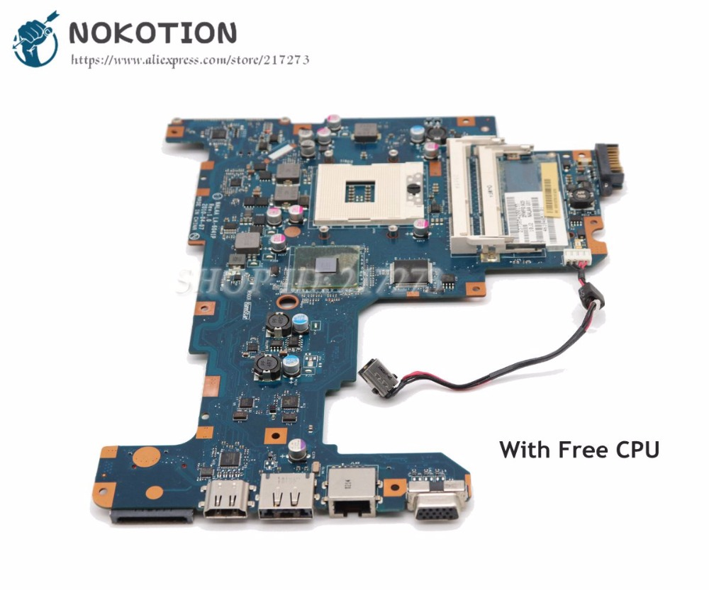 NOKOTION For Toshiba Satellite L670 Laptop Motherboard HM55 UMA K000103760 NALAA LA-6041P MAIN BOARD Free CPU