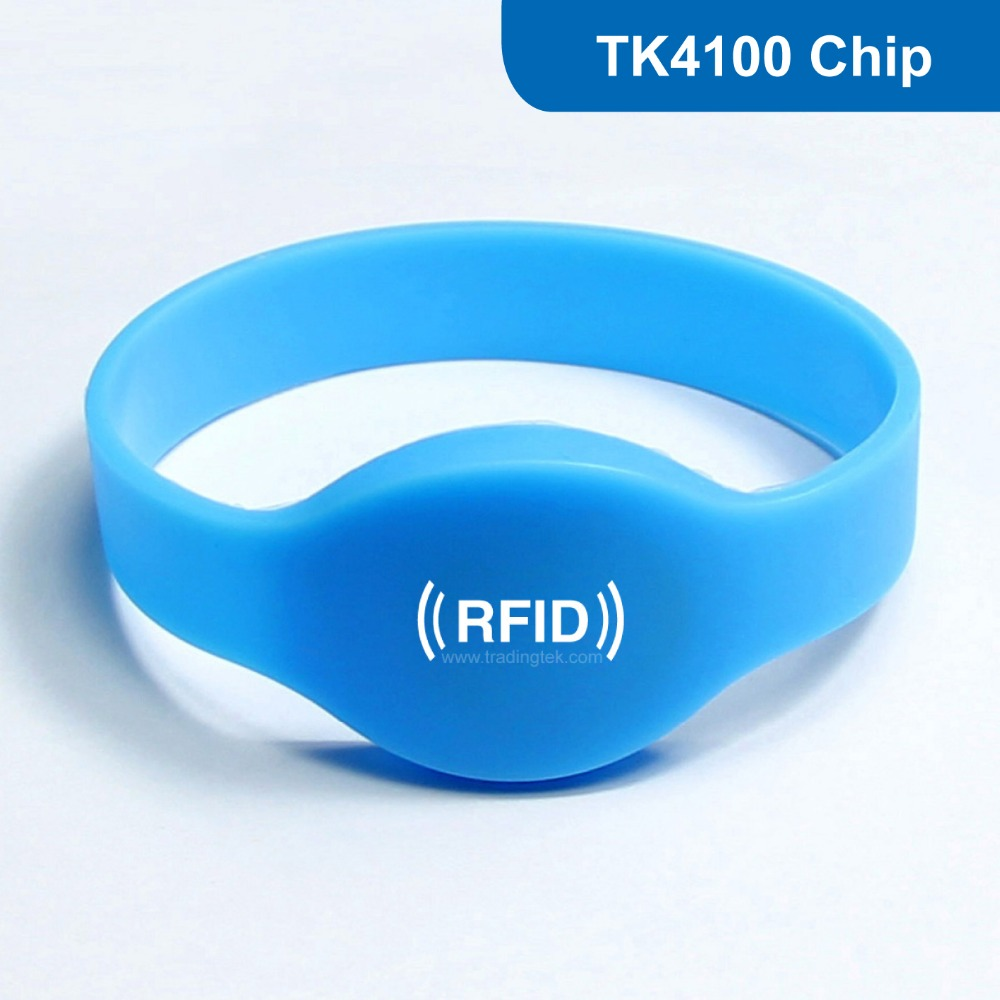 WB01 Silicone RFID Wristband RFID Bracelet 125KHZ 64BITS R/O Contactless proximity tag for Access Control with TK4100 Chip waterproof contactless proximity tk4100 chip 125khz abs passive rfid waste bin worm tag for waste management