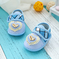 3 Colors Soft Bottom Baby First Walkers Heart-Shaped Stripe Cotton Boys Girls Newborn Non-slip Moccasins Infant Toddlers Shoes