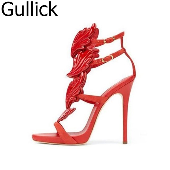 Hot Selling Wing High Heel Sandals Red Black Silver Patent Leather Ankle Strap Cut-out Gladiator Sandals For Women Big Size 10 hot selling denim blue ankle strap buckle high heel sandals cut out thick heel gladiator sandals for women summer dress shoes