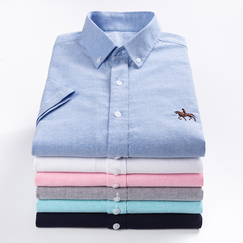 New S to 6xl short sleeve 100% cotton oxford soft comfortable regular fit plus size quality summer business men casual shirts 5