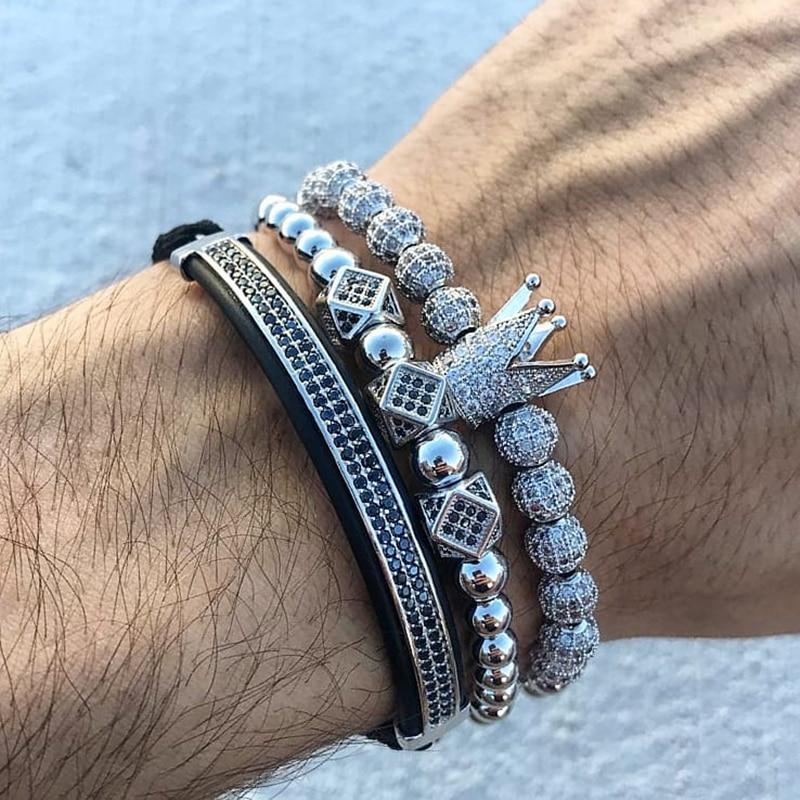 3 unids/set pulsera de los hombres joyas de la Corona encantos Macrame pulseras de perlas para mujeres pulseira masculina pulseira mujeres pulseras