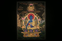 Spot Mandala Thangka Tibetan monks painted black gold painted living room wall hanging study Medicine Buddha 58 * 42