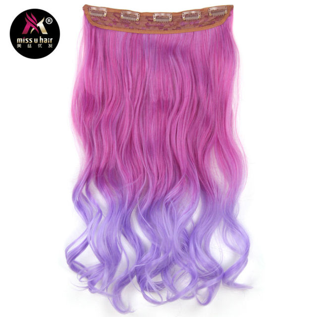 Miss U Hair Long Wavy Clip in on Hair Extensions Ombre Rainbow color Women Synthetic 5 Clips In hairpiece