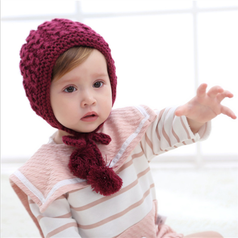 1 Stück Baby Hut Mütze Herbst Winter Handgemachte Wolle Ohr Stricken Hüte Neugeborenen Baby Mode Wärmer Caps Kinder Hüte SorgfäLtige FäRbeprozesse