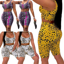 2019 Brand New Summer Ladies Women Sexy 2PCS Leopard Print CropTops Shorts Pants Bodycon Casual Outfit Sportswear Tracksuit Set