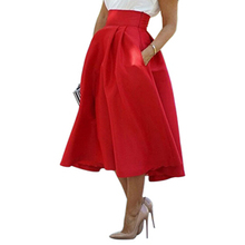 2016 New Women's Fashion Summer Wedding Party High Waist A Line Pleated Midi Skirt