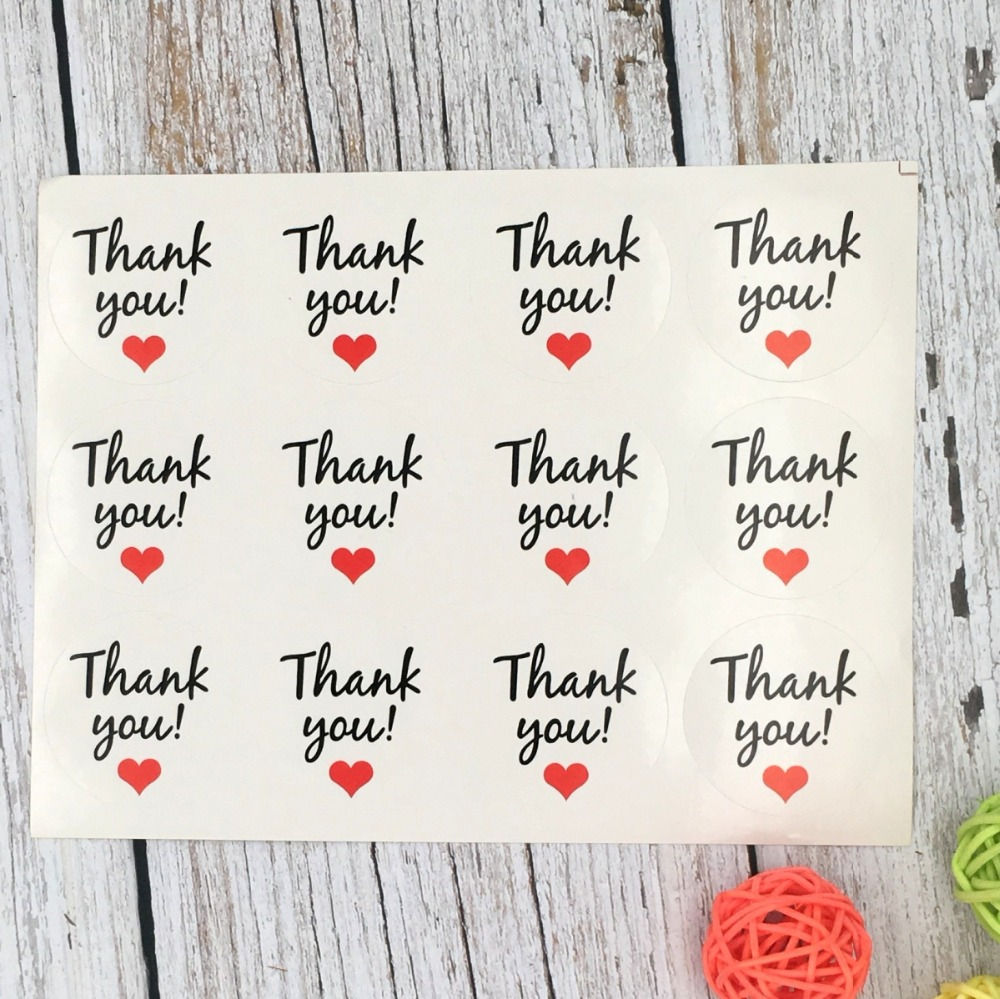 120Pcs Thank You Red Heart Handmade Cake Packaging Sealing Label Kraft Sticker Baking DIY Work Gift Box Round Stickers M1106 120pcs thank you heart round eco friendly kraft stationery label seal sticker students diy retro label handmade products