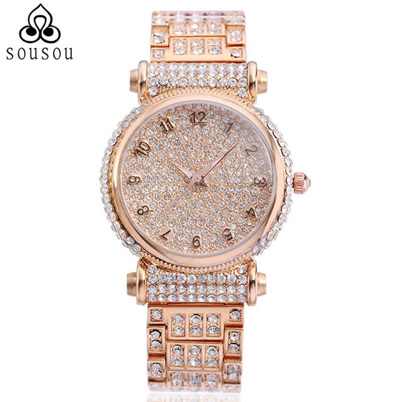 High quality Christmas Gift for Lady Quartz Wristwatch Luxury Full Diamond Crystal Women's Rose Gold Watch Relogio Feminino hot sale luxury crystal rose gold high quality leather quartz gift watch wristwatch for women ladies girls 1 year warrenty