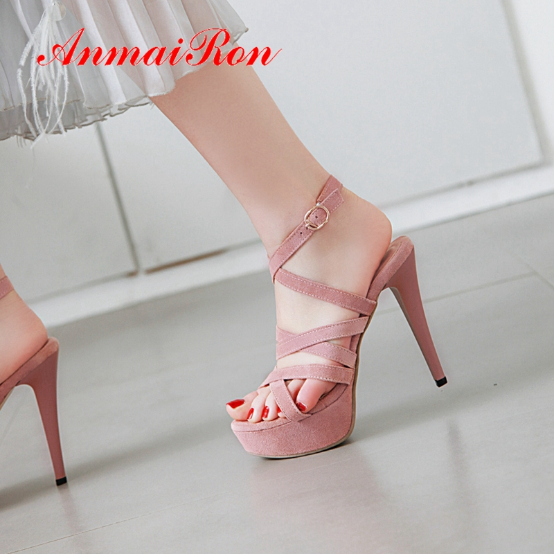 ANMAIRON Flock Basic Party Woman Sandals 2019 Summer New Arrival Super High Platform Buckle Strap Solid  Shoes Size 34-43 LY2492