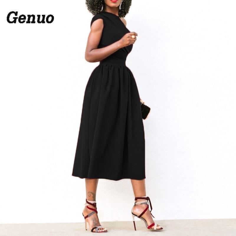 a340849c4b Verano Cóctel Ajustado Boda Grande Hombro Un Talla Sexy Mujer Vestido De  Fiesta rojo Vintage Elegante Negro Midi ...