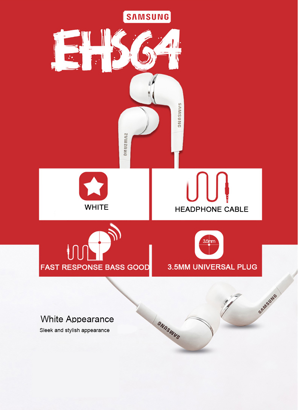 Samsung Earphones EHS64 Headsets With Built in Microphone 3.5mm In Ear Wired Earphone For Smartphones with free gift-in Phone Earphones & Headphones from Consumer Electronics on Aliexpress.com | Alibaba Group 4