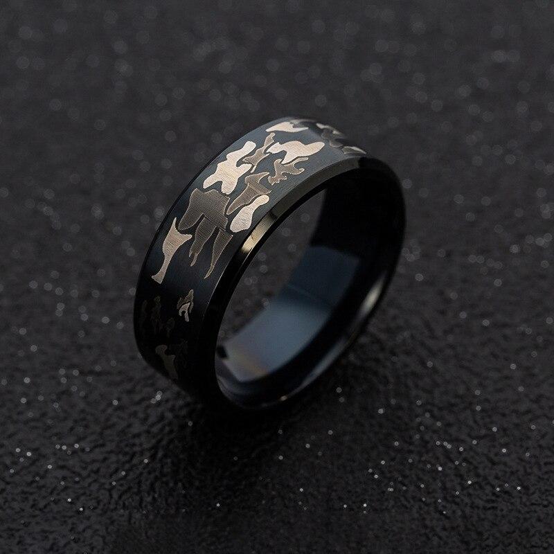 Этнические черные мужские кольца из титановой стали, мужские панк-кольца, три цвета, камуфляжное черное кольцо, камуфляжные мужские ювелирн...
