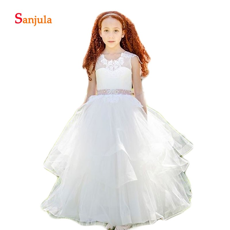 Puffy Tiered Skirt Sepcial   Flower     Girls     Dresses   Scoop Ball Gown Appliques Beaded Attractive Kids   Dress   Wedding Party Wear D108