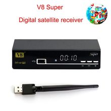 Freesat V8 Super DVB-S2 Satellite  Support one year Europe clines and receiver DVB-S2/T2 tv box with USB WiFi