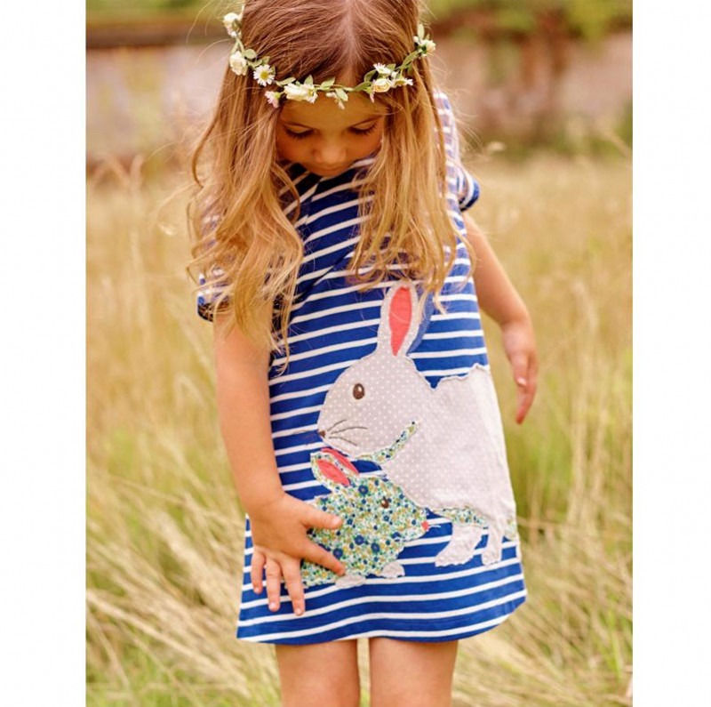 2016 New Baby Girls Summer Dress Lovely Kids Clothes Bunny Navy White Striped Cartoon Tutu Cute Dresses Girls 2 3 4 5 6 7y