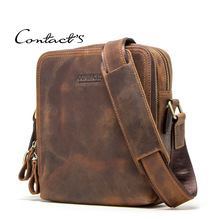 Men Bag Crazy Horse Leather Messenger Back Male Shoulder Fas