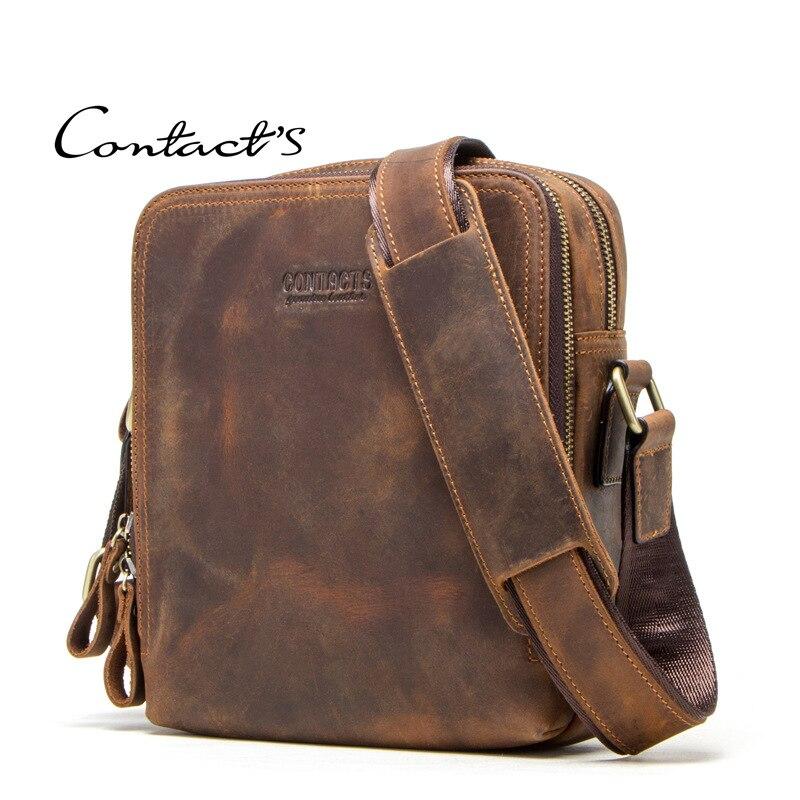 Men Bag Crazy Horse Leather Messenger Back Male Shoulder Fashion Crossbody Flap Business Travel Large Ipad Mochila Handbags Gift
