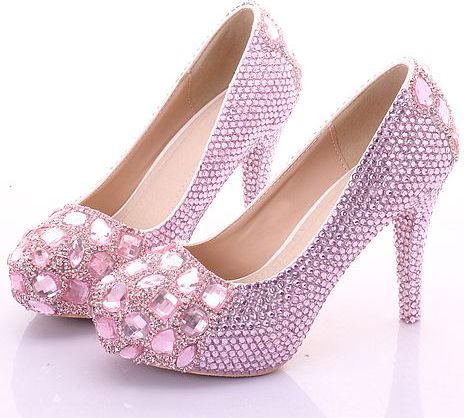 10CM heel pink crystal pumps shoes for woman round toes platforms ladies womens party dinner shoes TG712