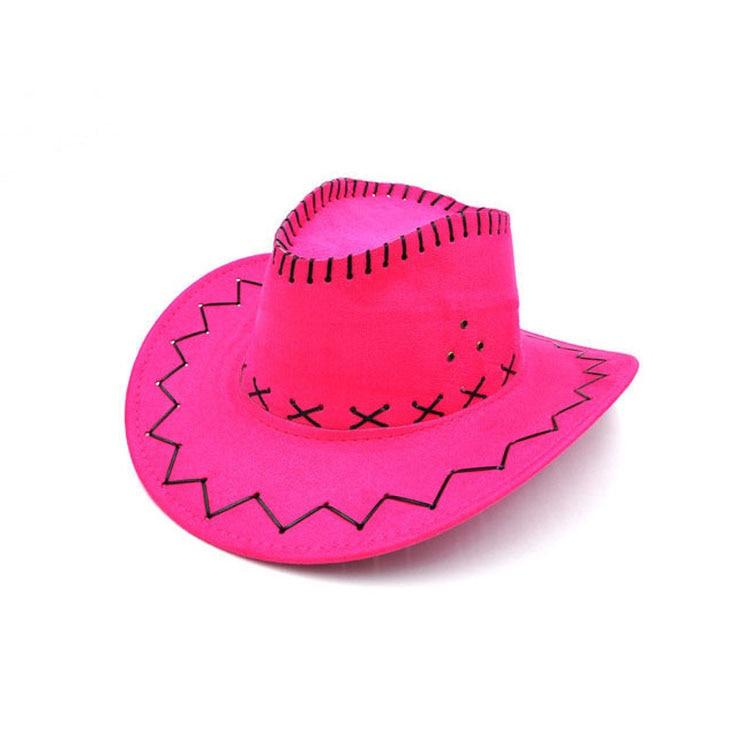 100pcs/lot Wide Brim Cowboy Hat Suede Look Wild West Fancy Dress Men Girls Solid Colors Gorros Cap Women's Hats Chapeau Femme 14