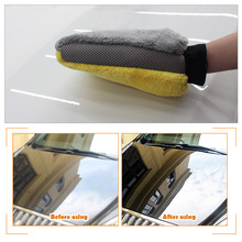 4PCS/Set Car Cleaning Set Super Thick Microfiber Mitt&Sponge Waterproof Glove Foam Sponge For Car Care Washing Wax Polishing