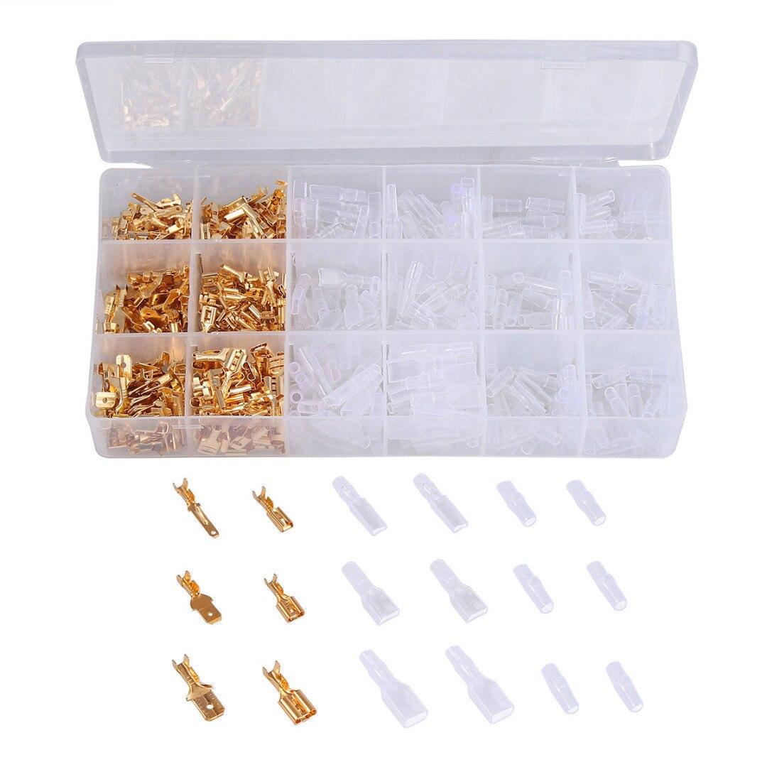 מחשבים ניידים ואביזרים 1pc Ferrule Crimping פלייר 22-16AWG 0.5-1.5mm2 + 300pcs 2.8 / 3.96 / 4.8 / 5.08 / 6.3mm מסופי ספייד מחברים Set (4)