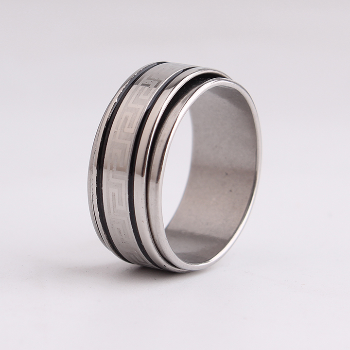 free shipping 10mm Black stripe Great Wall pattern Rotation 316L Stainless Steel finger rings for men wholesale