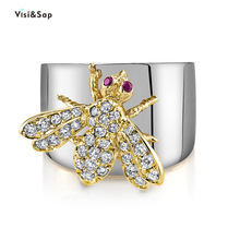 Visisap New Style Cute Bee Shape Multicolor Zircon Rings for Women Birthday Party Ring Insect Jewelry Dropshipping B2625