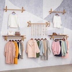 لطيفة مجموعة 5 قطعة الشماعات على جدار الملابس مخزن شماعات رف شاشة رف تعليق الملابس الذهب