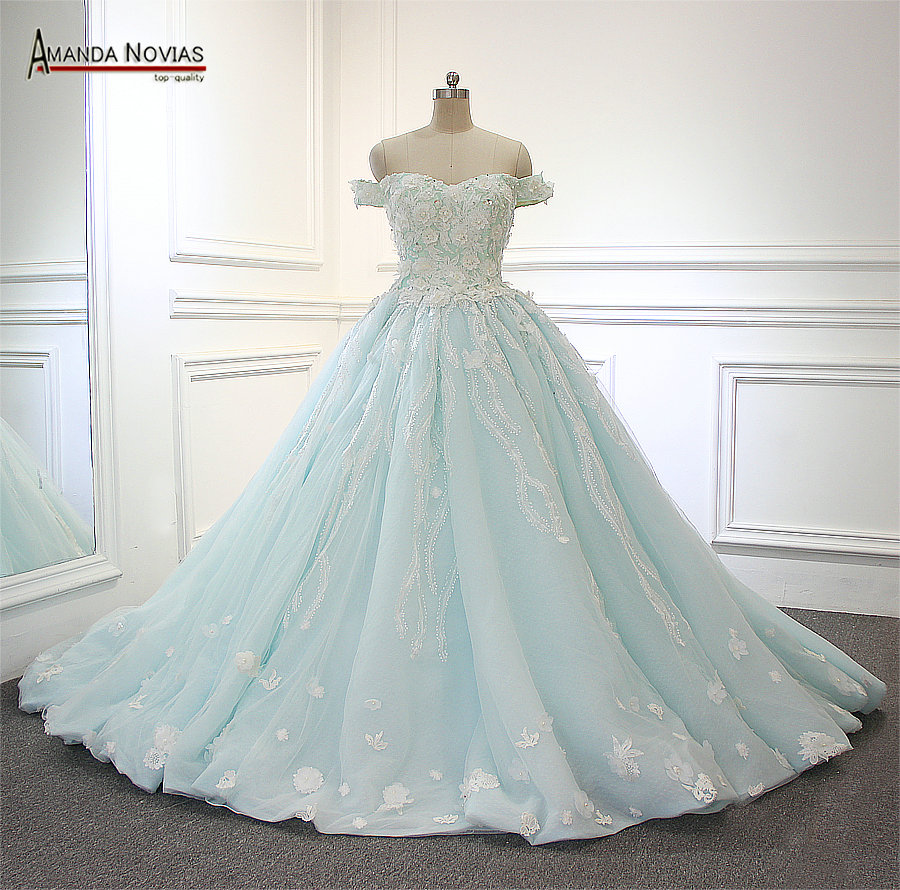 2017 Hot Sale Amanda Novias Real Picutres Blue Color Wedding Dress ...