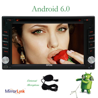 Free External Mic+Android Quad Core 6.0 Car Stereo GPS Navigation Double Din Auto Radio DVD Player 6.2inch Bluetooth Headunit
