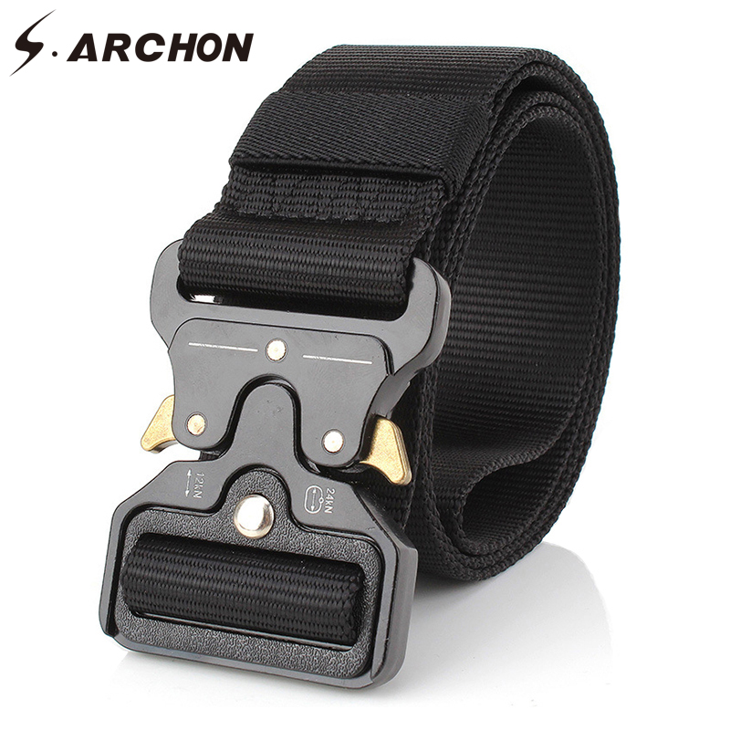 S.ARCHON Special Forces Military Equipment Army Belts Men Soldier SWAT Paintball Tactical Canvas Belt Airsoft Safety Waist Belts