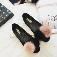 New Women Flats Shoes  2016 Women New Fashion Rabbit Fur  flat heel Round Toe Flats Shoes