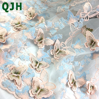 Exquisite 3D Butterfly Embroidery Lace Fabric Multicolor Gold Thread Bridal Gown Wedding Fabrics Tulle Cloth DIY Dress Material