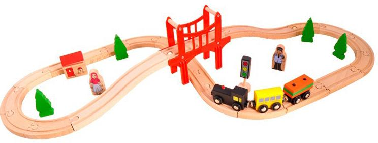 Baby Toy New Innovative Products 37pcs Wooden Train Set Child Building Block Toy Vehicles Play Set gift