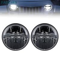 FADUIES 7 Inch Round LED Headlights High Low Beam For Jeep Wrangler JK TJ 97 2017