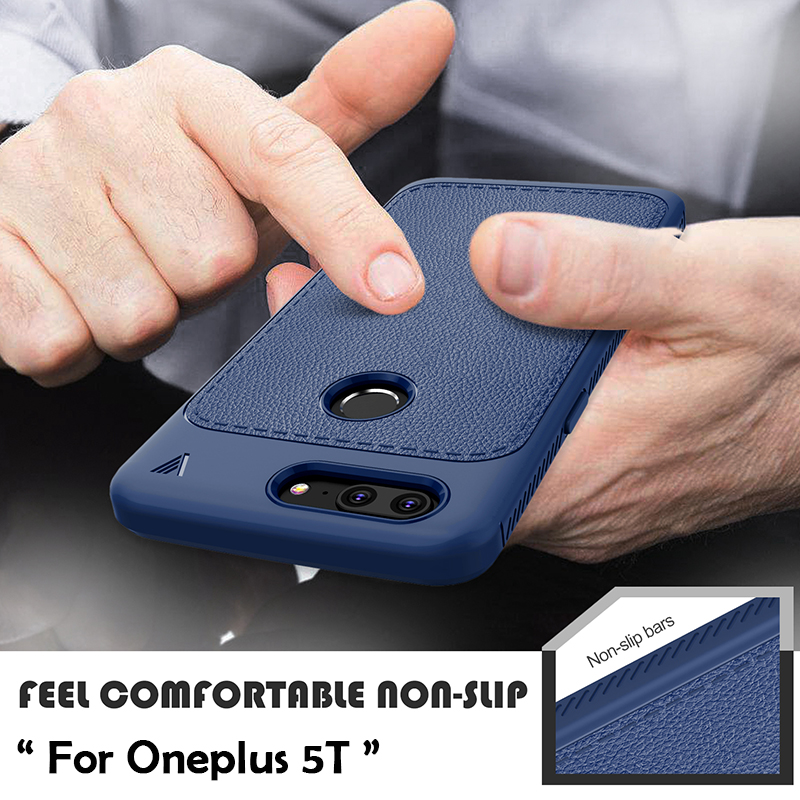 For Oneplus 5T Case One Plus 5T Cover Luxury Litchi Grain Leather Soft TPU Silicone Back Phone Cases Oneplus 5T Christmas Gift