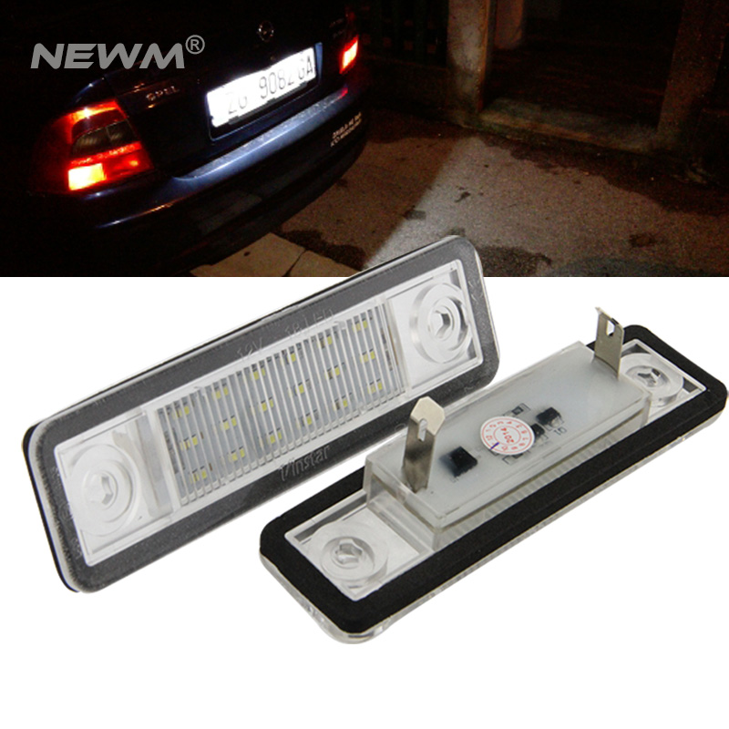 2X Car 18 LED License Plate Lights 12V White Number Plate Lamp For Opel Astra G Astra F Corsa B Zafira A Vectra B For Omega A cyan soil bay 2pcs 12v smd 3528 white light 18 leds license plate lamp for vauxhall opel astra corsa c d astra h j zafira b