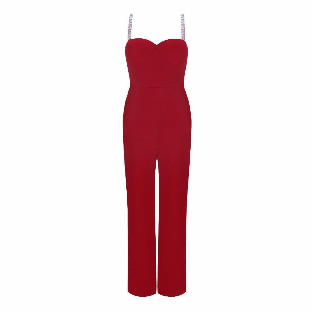 2018 Femmes Rouge Salopette Perles Mode Nouvelle Bandage Sexy Qualité Haute Bracelet Plein qPC1anW