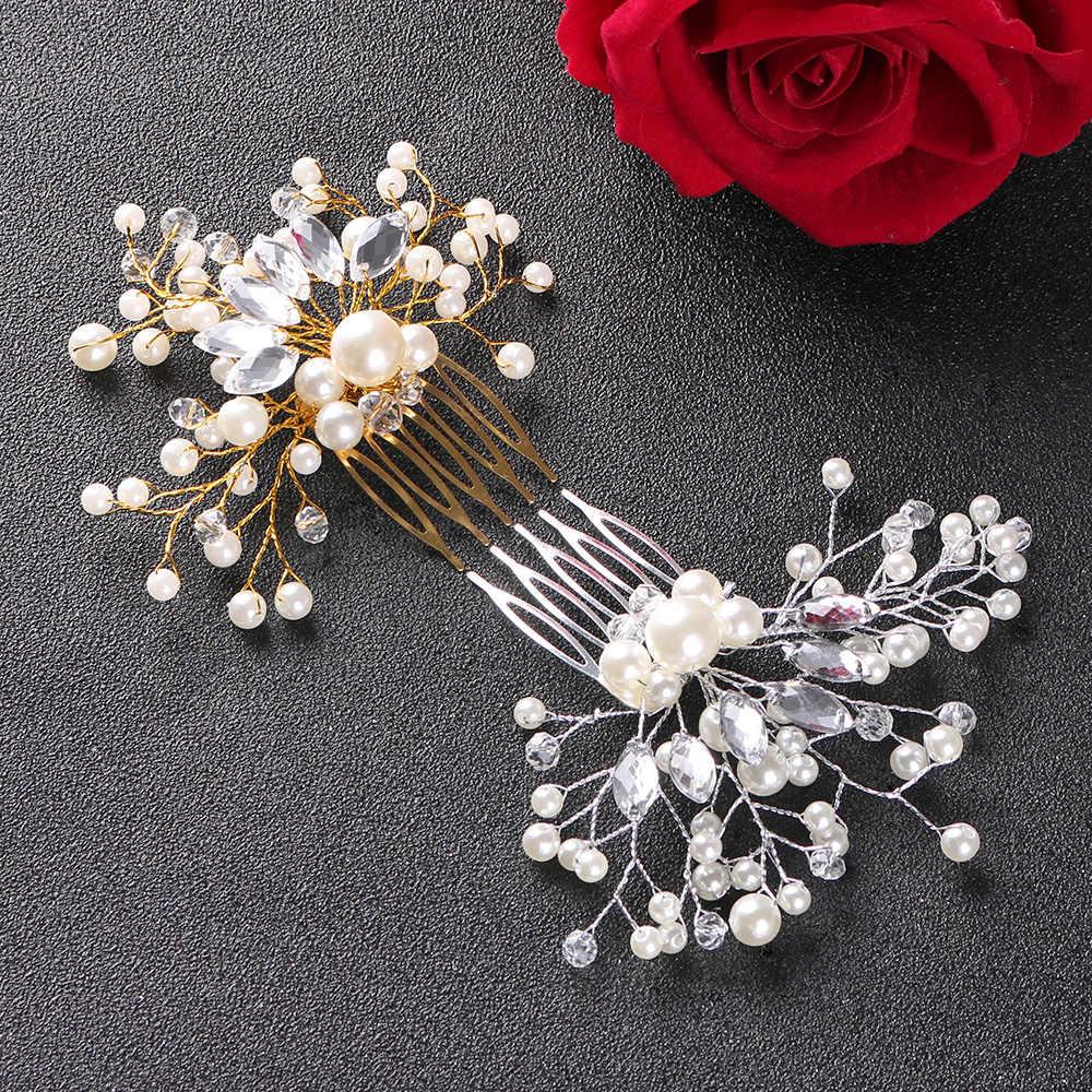 Kryształowa korona panna młoda druhna peruka perłowa grzebienie dla kobiet spinka do włosów tiara z kryształkami klipsy ślubne wesele akcesoria do włosów