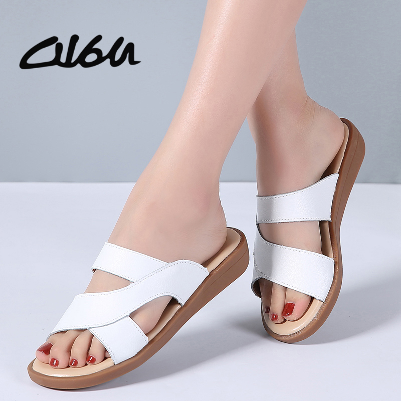 O16U 2018 Summer Women Slippers Flat Sandals Shoes Beach Shoes Flip Flops Women leather slides Gladiator mules ladies flipflops