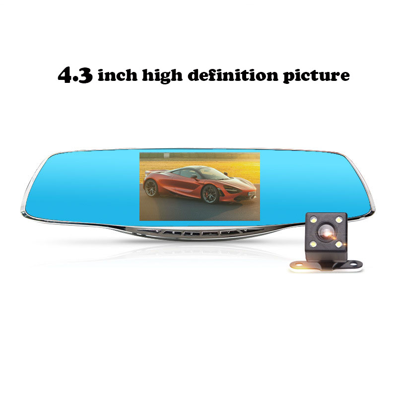 New 4.3 Inch TFT High-definition CAR DVR Rearview Mirror Tachograph 1080P HD Dual Lens Automatic Cycle Cover Recording Record