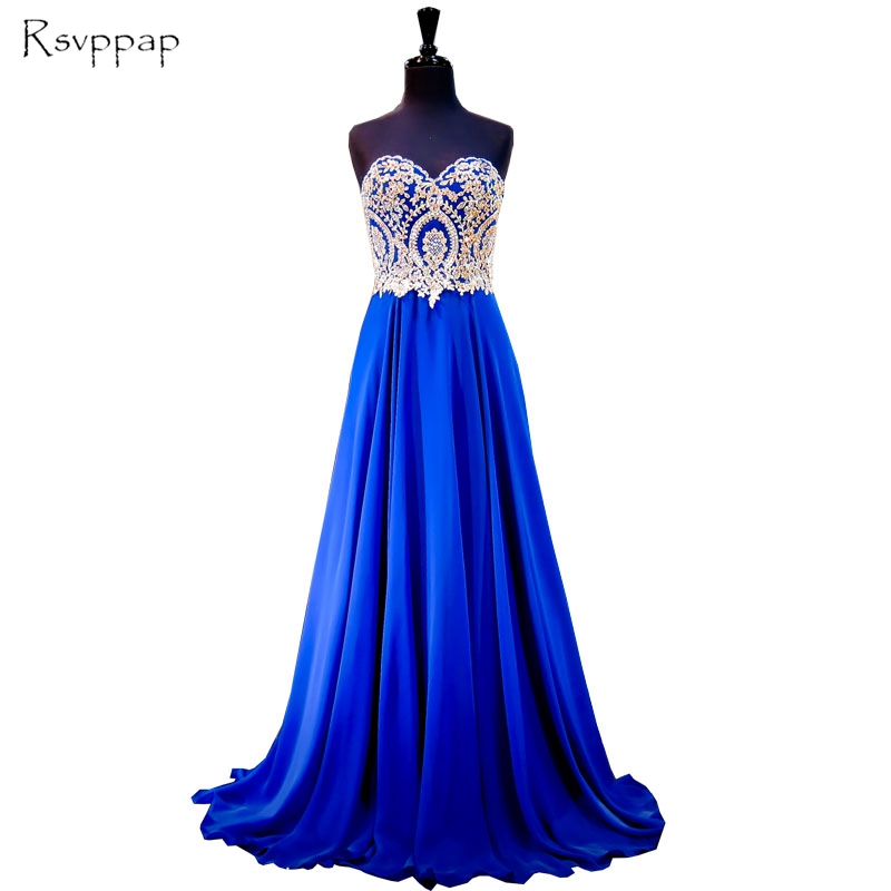 Long Women Evening Dress 2019 Gorgeous A-line Sweetheart Gold Lace Floor Length Royal Blue Chiffon Formal Evening Gowns