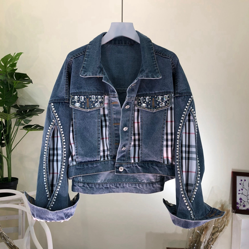 SexeMara fashion The New Beading Fake two pieces Splicing cattle Short before denim jacket Free shipping