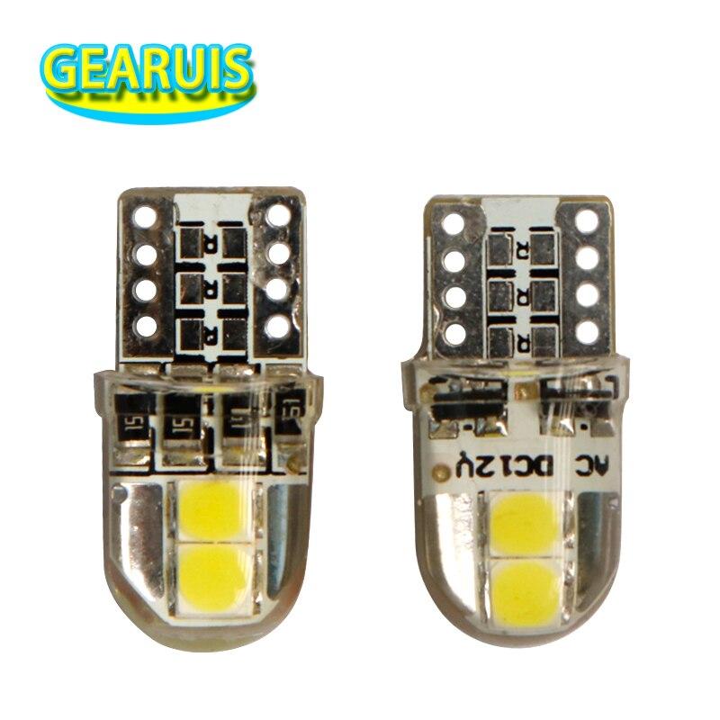 100pcs Silicone T10 W5W 4 smd 3030 Led Non polar For 168 194 car interior instrument