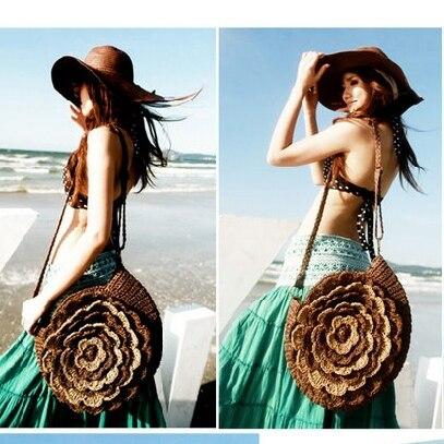 Bohemia Vintage Straw Beach Bags Round-shaped Straw Knitting Flower Women Shoulder Bag Summer Woven Ladies Crossbody Bags L218 handmade flower appliques straw woven bulk bags trendy summer styles beach travel tote bags women beatiful handbags