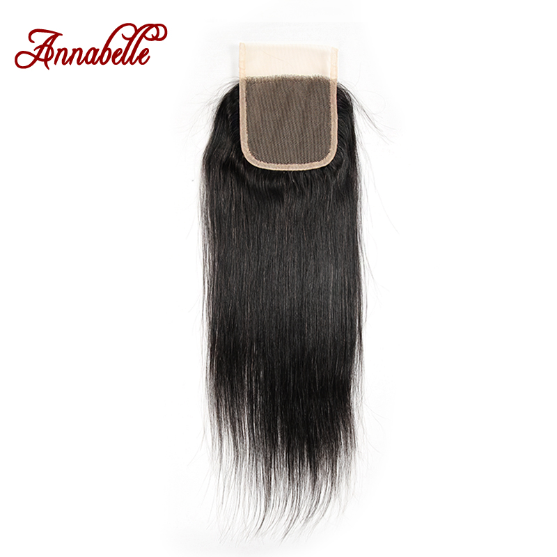 ALI ANNABELLE HAIR Peruvian Straight Lace Closure 4 4 Swiss Lace Natural Color 100 Remy Hair